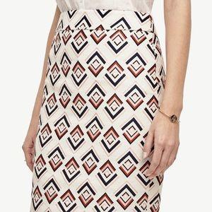 Ann Taylor Chevron Jacquard Pencil Skirt sz 0P